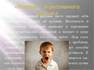 «Портрет» агрессивного ребенка Агрессивный ребенок часто ощущает себя отверже
