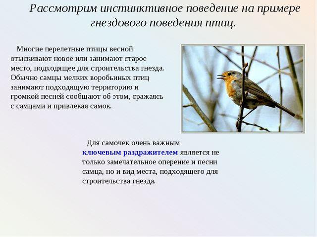 Рассмотрим инстинктивное поведение на примере гнездового поведения птиц. Мног...