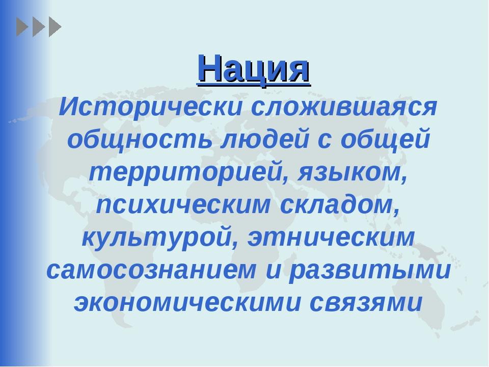 Нация Исторически сложившаяся общность людей с общей территорией, языком, пси...
