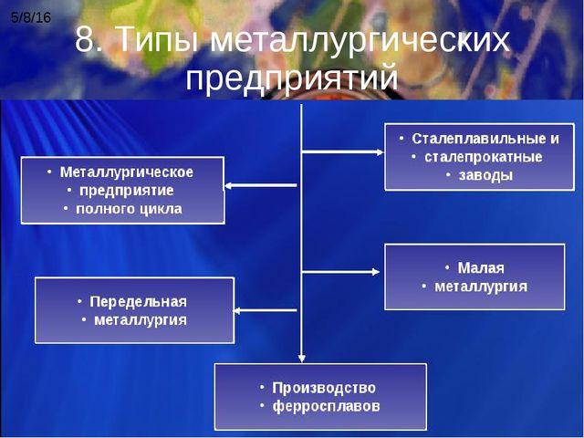 8. Типы металлургических предприятий