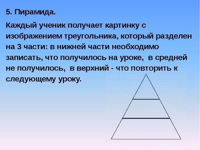 5. Пирамида. Каждый ученик получает картинку с изображением треугольника, кот...