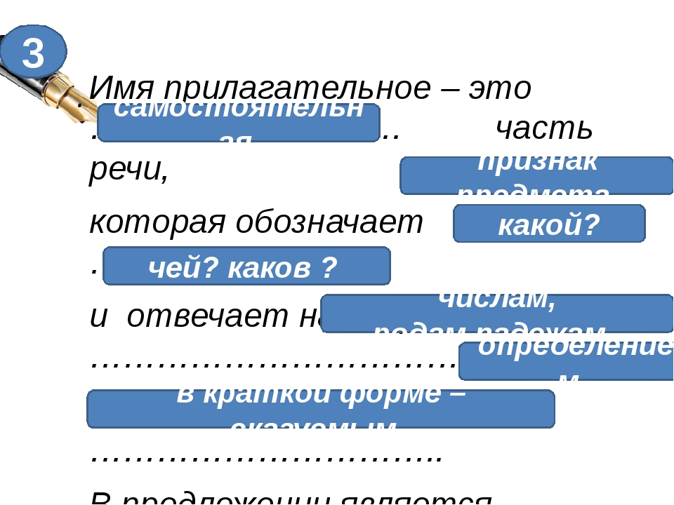 Имя прилагательное – это ………………………. часть речи, которая обозначает ………………….....