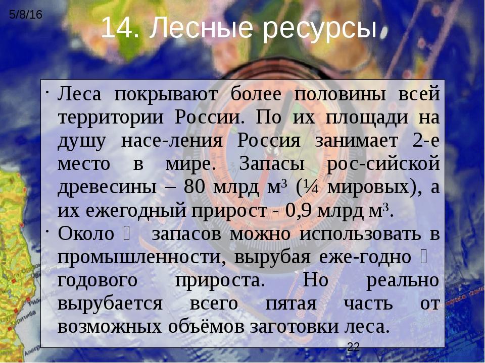 Леса покрывают более половины всей территории России. По их площади на душу н...