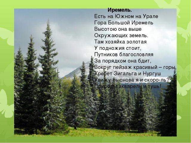 Иремель. Есть на Южном на Урале Гора Большой Иремель Высотою она выше Окружа...
