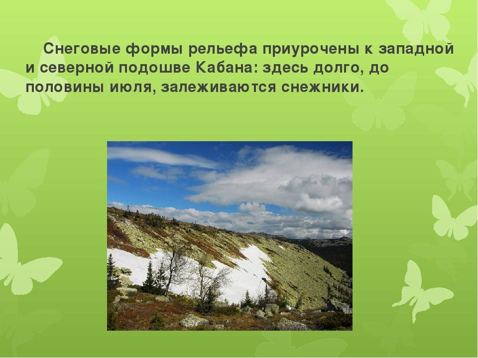 Снеговые формы рельефа приурочены к западной и северной подошве Кабана: здес...
