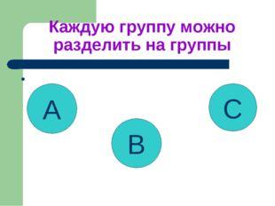 Каждую группу можно разделить на группы • A B C