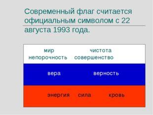 Современный флаг считается официальным символом с 22 августа 1993 года. мир