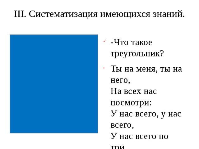 III. Систематизация имеющихся знаний. -Что такое треугольник? Ты на меня, ты...