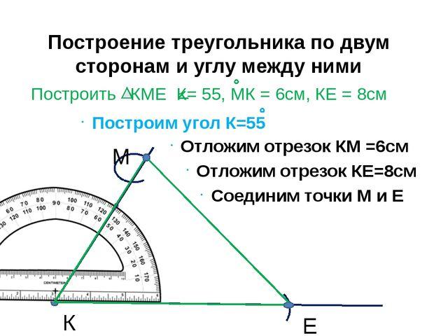 Построение треугольника по двум сторонам и углу между ними К Отложим отрезок...