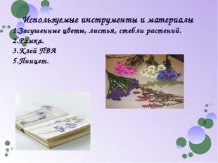 Используемые инструменты и материалы 1.Засушенные цветы, листья, стебли расте