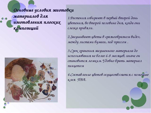 Основные условия заготовки материалов для изготовления плоских композиций 1.Р...