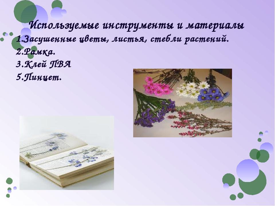Используемые инструменты и материалы 1.Засушенные цветы, листья, стебли расте...