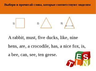 ОТ АВТОРА Выбери и прочитай слова, которые соответствуют моделям A rabbit, mu