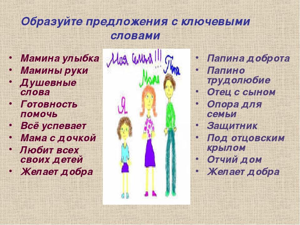 Образуйте предложения с ключевыми словами Мамина улыбка Мамины руки Душевные...