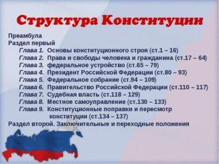 Преамбула Раздел первый Глава 1. Основы конституционного строя (ст.1 – 16) Гл