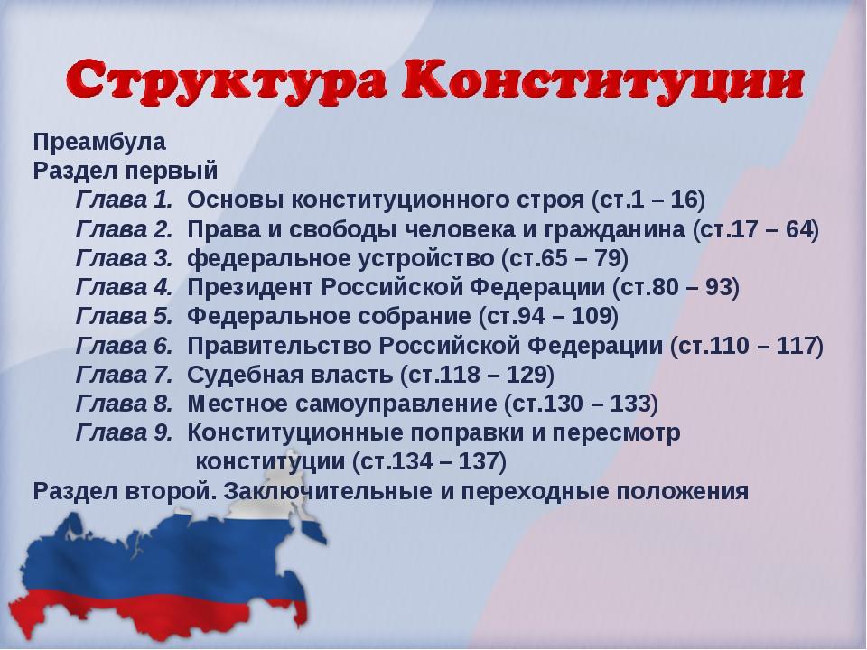 Преамбула Раздел первый Глава 1. Основы конституционного строя (ст.1 – 16) Гл...