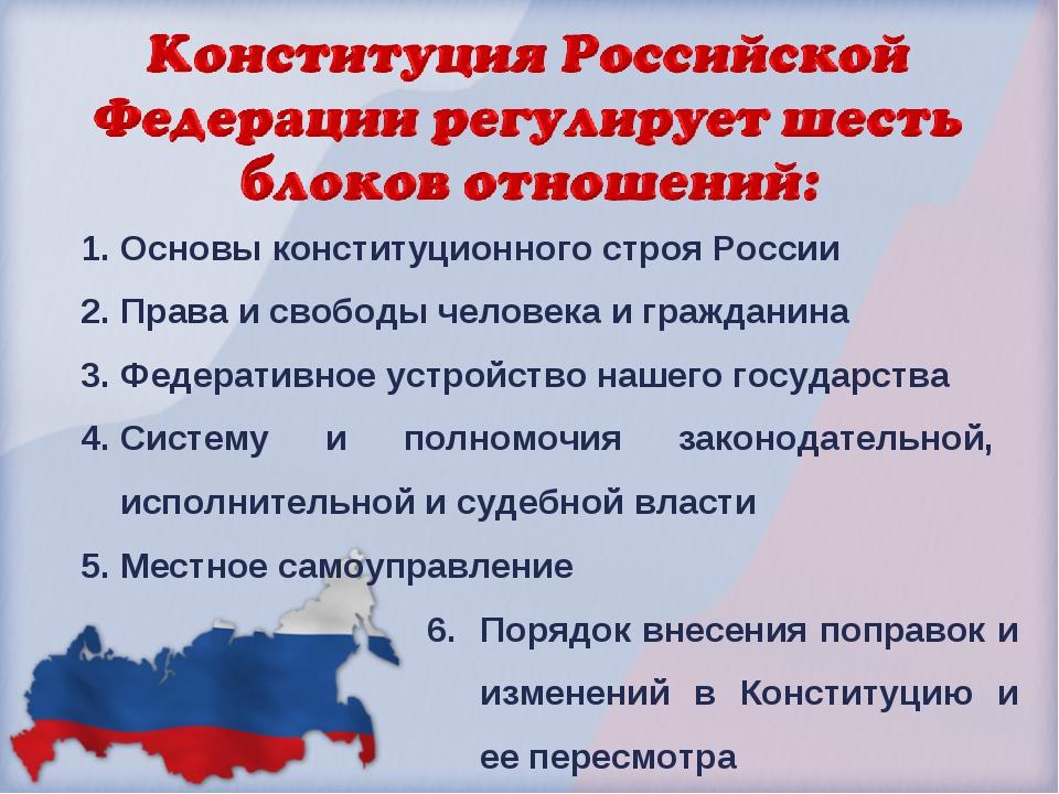 Основы конституционного строя России Права и свободы человека и гражданина Фе...