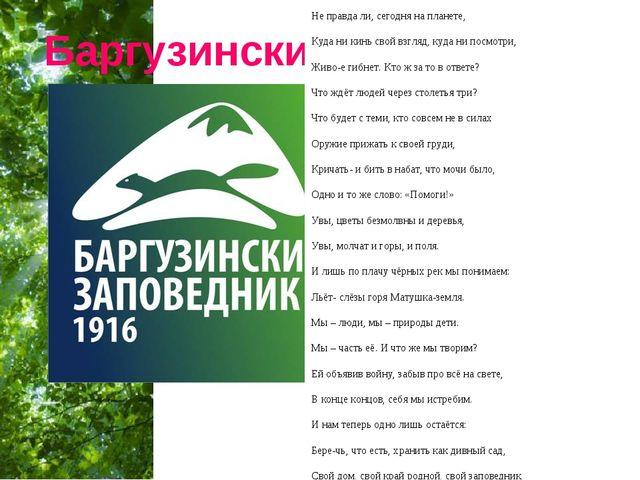 Баргузинский заповедник Не правда ли, сегодня на планете, Куда ни кинь свой в...