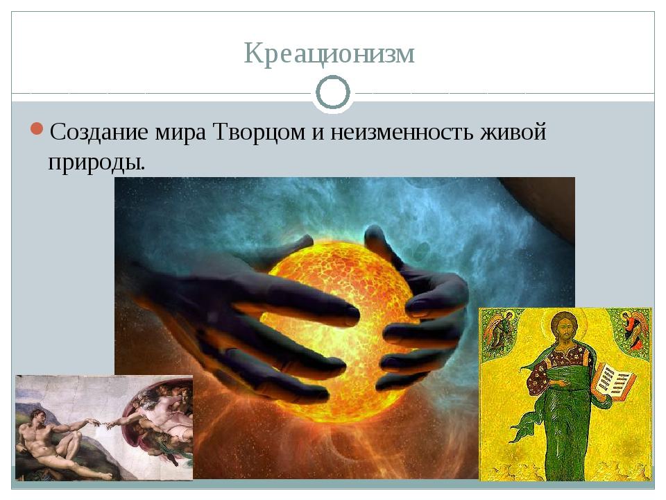 Креационизм Создание мира Творцом и неизменность живой природы.