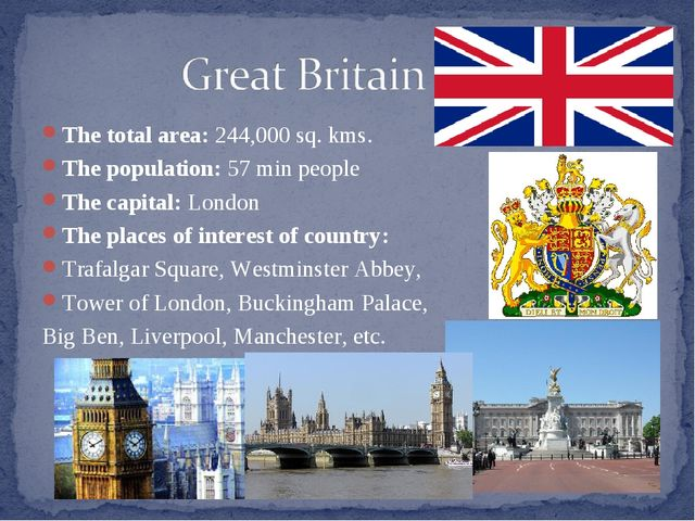 The total area: 244,000 sq. kms. The population: 57 min people The capital: L...
