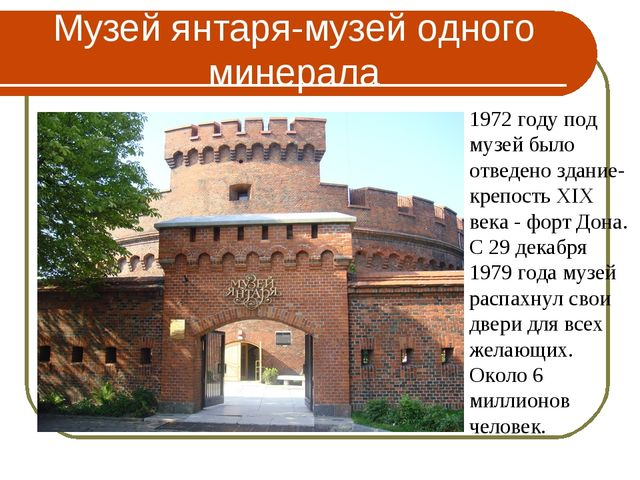 Музей янтаря-музей одного минерала 1972 году под музей было отведено здание-к...