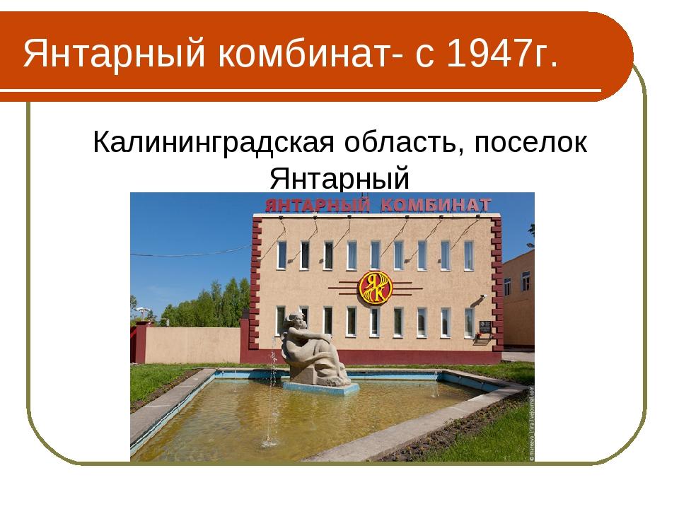 Янтарный комбинат- с 1947г. Калининградская область, поселок Янтарный