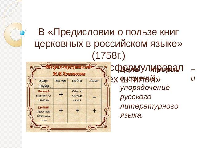 В «Предисловии о пользе книг церковных в российском языке» (1758г.) М.В. Ломо...