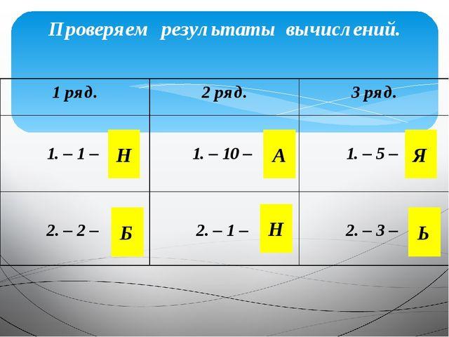 Проверяем результаты вычислений. Н Н Б А Я Ь 1 ряд. 2 ряд. 3 ряд. 1.– 1 – 1.–...