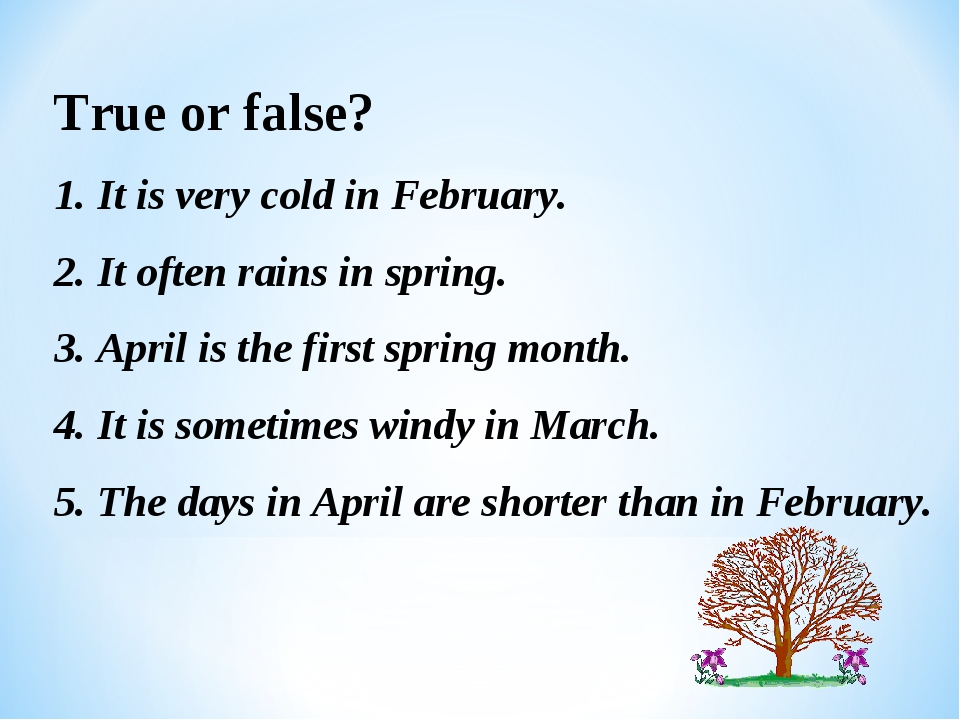 True or false? 1. It is very cold in February. 2. It often rains in spring. 3...