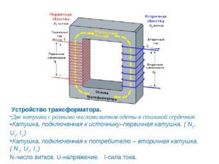 Устройство трансформатора. Две катушки с разными числами витков одеты в стал