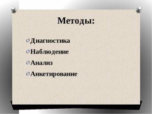 Методы: Диагностика Наблюдение Анализ Анкетирование
