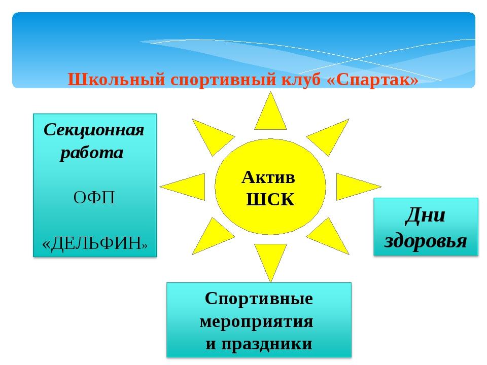 Школьный спортивный клуб «Спартак» Актив ШСК