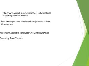 http://www.youtube.com/watch?v=_Ie0wfmRSx8 Reporting present tenses http://ww