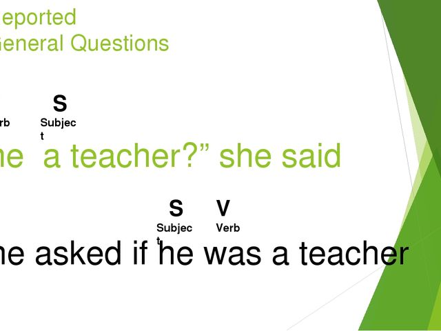 "Reported General Questions ""Is he a teacher?"" she said S Subject V Verb She a..."