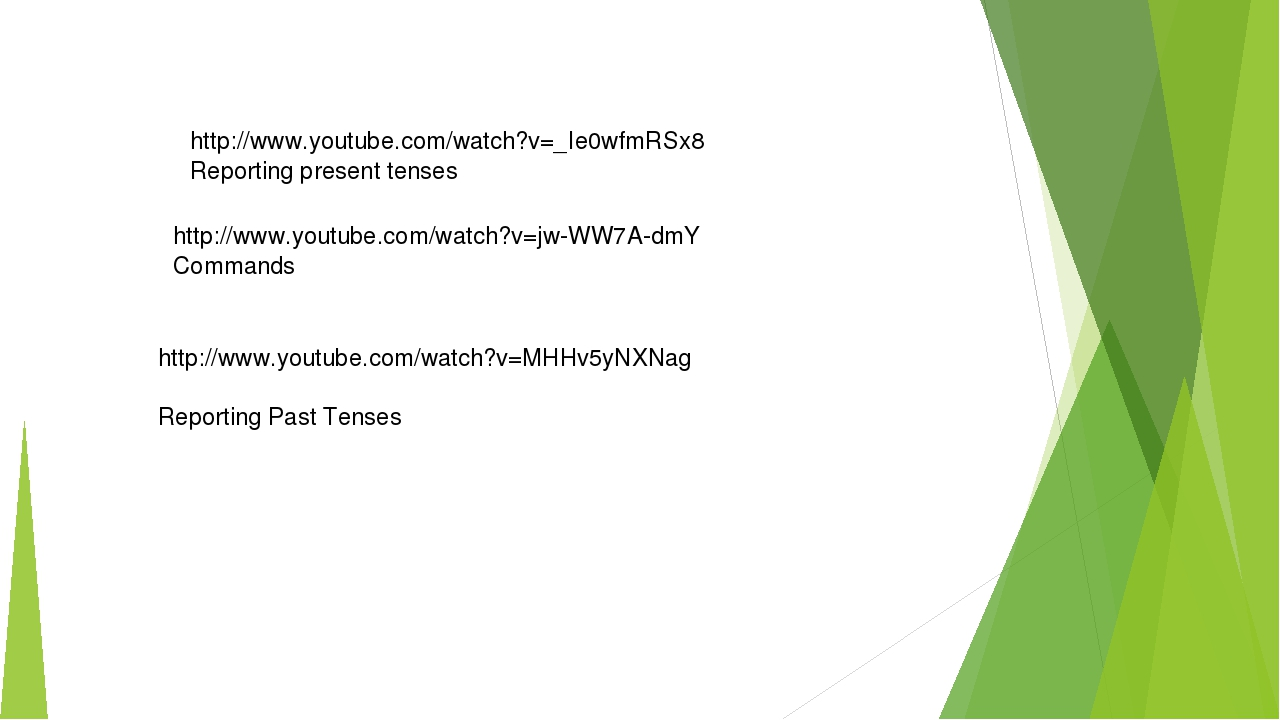 http://www.youtube.com/watch?v=_Ie0wfmRSx8 Reporting present tenses http://ww...