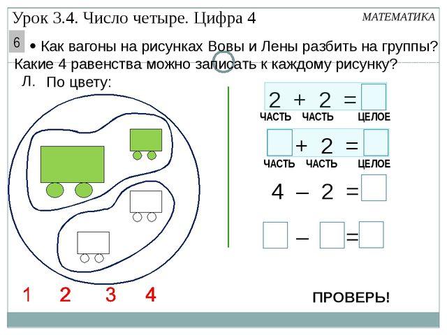 – = 4 2 2 + 2 = 4 Л. По цвету: + 2 = 4 – 2 = МАТЕМАТИКА ЧАСТЬ ЧАСТЬ ЦЕЛОЕ ЧА...