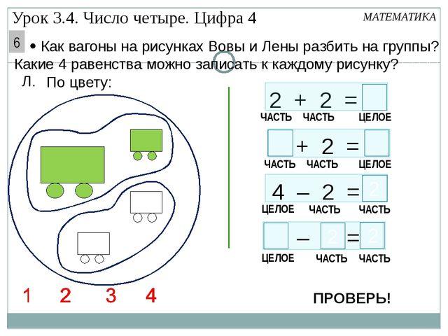 4 Л. По цвету: 2 + 2 = – = 4 – 2 = МАТЕМАТИКА ЧАСТЬ ЧАСТЬ ЦЕЛОЕ 2 ЧАСТЬ ЧАСТ...