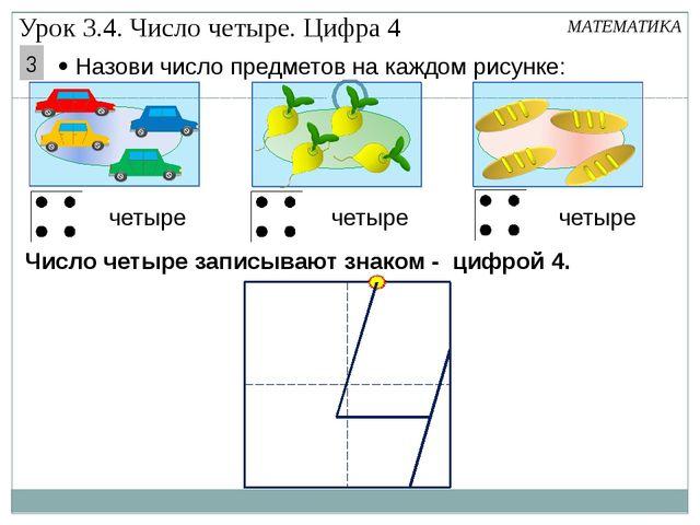 МАТЕМАТИКА  Назови число предметов на каждом рисунке: четыре Число четыре з...