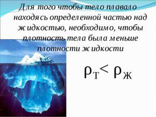Для того чтобы тело плавало находясь определенной частью над жидкостью, необх