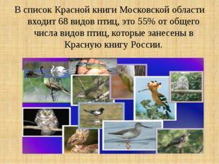 В список Красной книги Московской области входит 68 видов птиц, это 55% от об