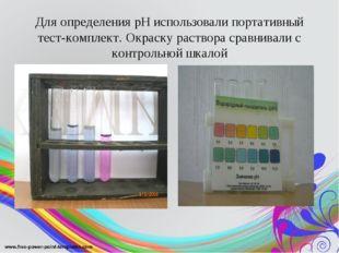 Для определения рН использовали портативный тест-комплект. Окраску раствора