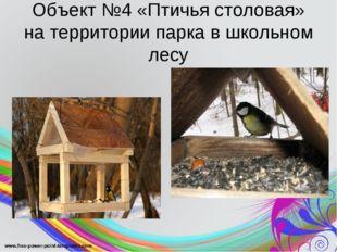 Объект №4 «Птичья столовая» на территории парка в школьном лесу
