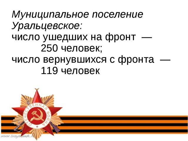 Муниципальное поселение Уральцевское: число ушедших на фронт — 250 человек; ч...