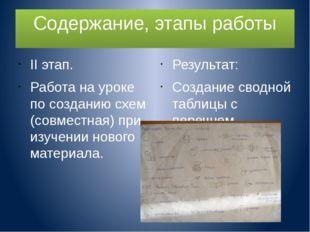 Содержание, этапы работы II этап. Работа на уроке по созданию схем (совместна