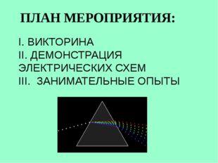 ПЛАН МЕРОПРИЯТИЯ: I. ВИКТОРИНА II. ДЕМОНСТРАЦИЯ ЭЛЕКТРИЧЕСКИХ СХЕМ III. ЗАНИМ