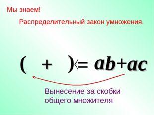 b a a Мы знаем! Распределительный закон умножения. = +ac Вынесение за скобки