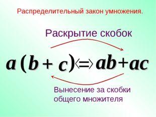 + c Распределительный закон умножения. a ( b ) = ab +ac Раскрытие скобок Выне