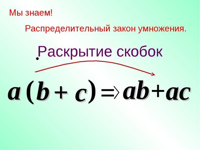 c Мы знаем! Распределительный закон умножения. a ( b ) = ab +ac a b + c Раскр...