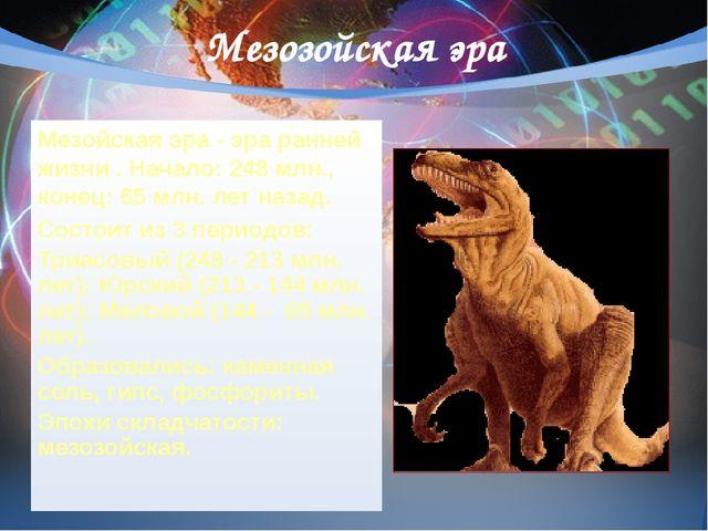 Мезозойская эра Мезойская эра - эра ранней жизни. Начало: 248 млн., конец: 6...