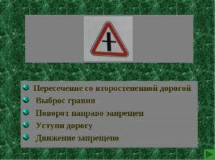 Пересечение со второстепенной дорогой Выброс гравия Поворот направо запрещен